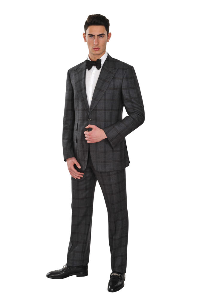 tom ford suit men 48r dark gray silk wool linen striped ebay. Black Bedroom Furniture Sets. Home Design Ideas