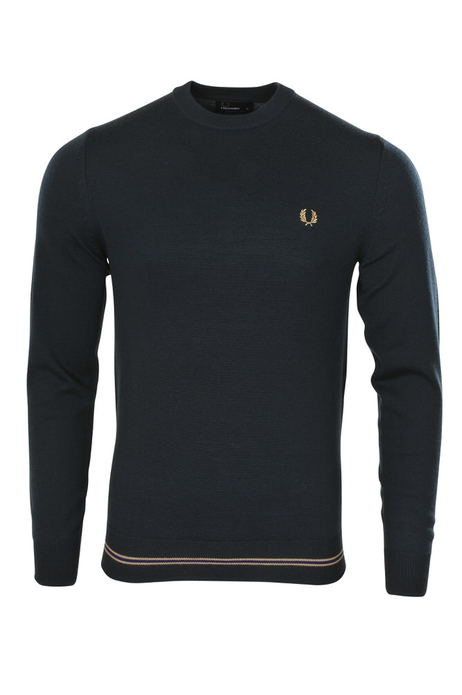 fred perry pullover herren m dunkelgr n merino einfarbig. Black Bedroom Furniture Sets. Home Design Ideas