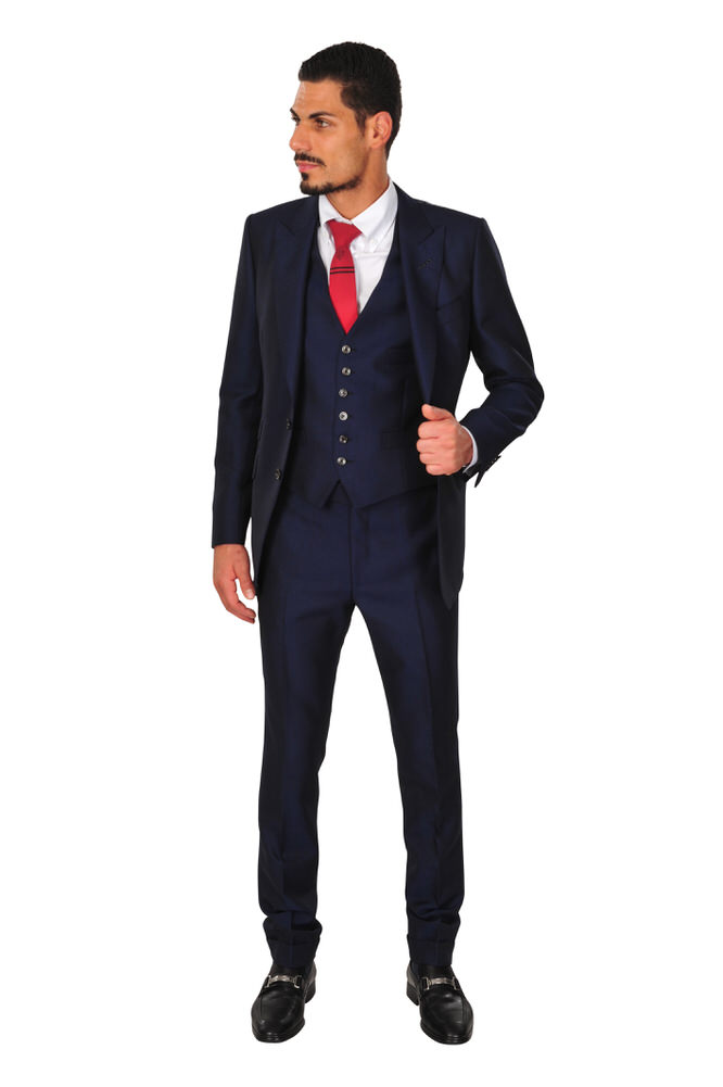tom ford suit men 48r dark blue wool mohair plain ebay. Black Bedroom Furniture Sets. Home Design Ideas