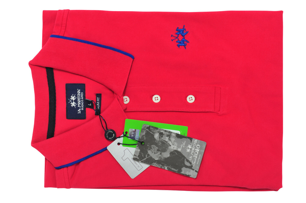 Einfarbig La Martina Polo Poloshirt Herren M Grau Baumwolle  SALE !