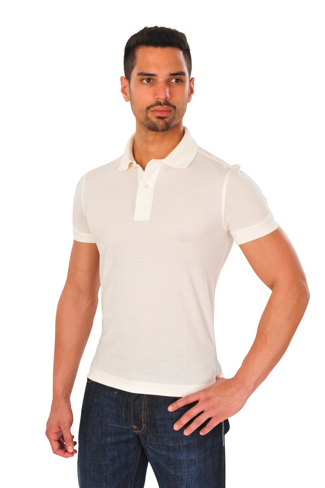 c47b05c7b613e Tom Ford Polo Poloshirt Men s 48 Off-white Cotton Plain ...