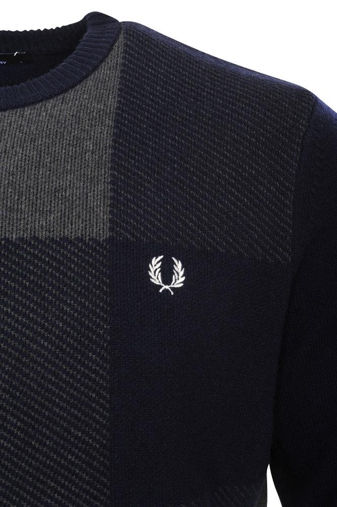 fred perry pullover men 39 s s dark blue wool multicolor ebay. Black Bedroom Furniture Sets. Home Design Ideas