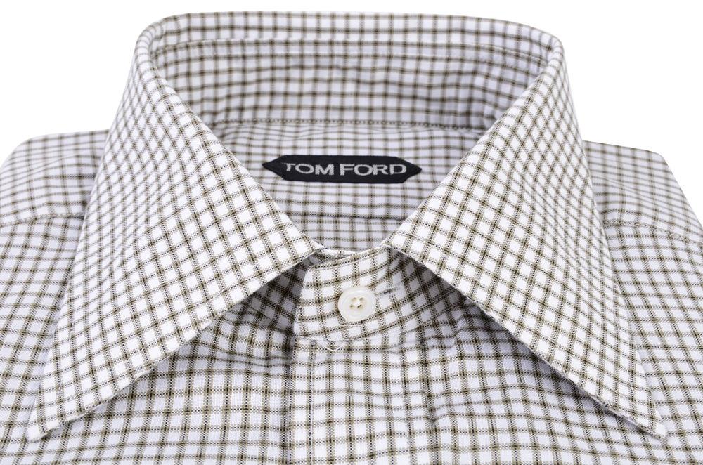 tom ford shirt men 39 s 40 grey cotton checkered ebay. Black Bedroom Furniture Sets. Home Design Ideas