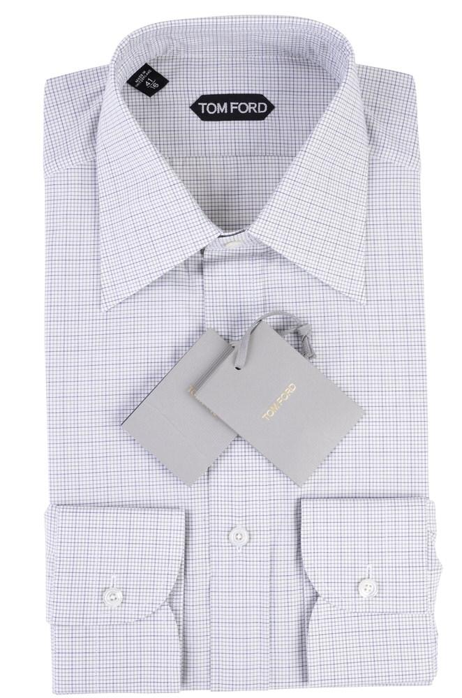 tom ford shirt men 39 s 41 grey cotton checkered ebay. Black Bedroom Furniture Sets. Home Design Ideas