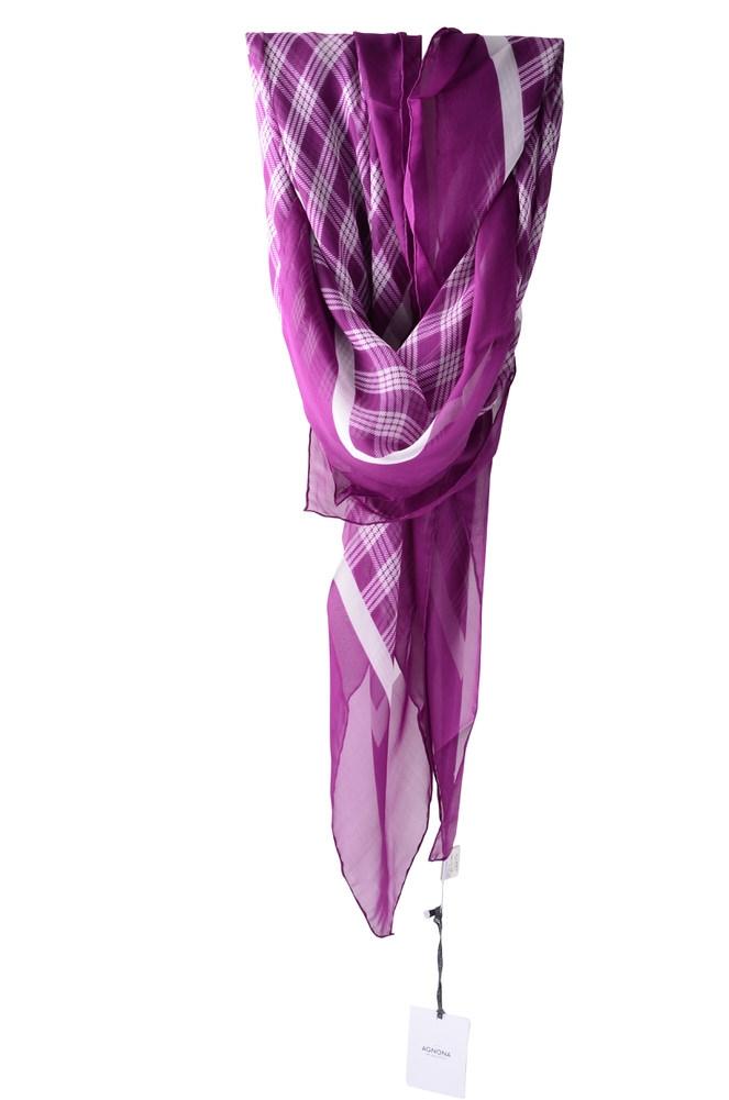 Agnona  Scarf  Violet Cashmere Silk  135 x 135