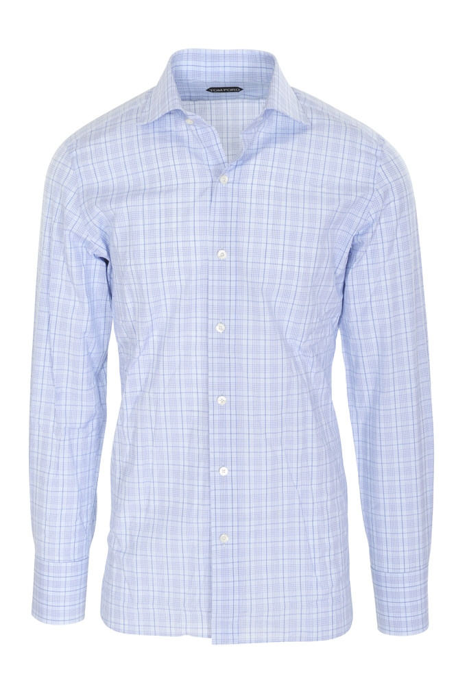tom ford shirt men 39 s 39 light blue cotton checkered. Black Bedroom Furniture Sets. Home Design Ideas