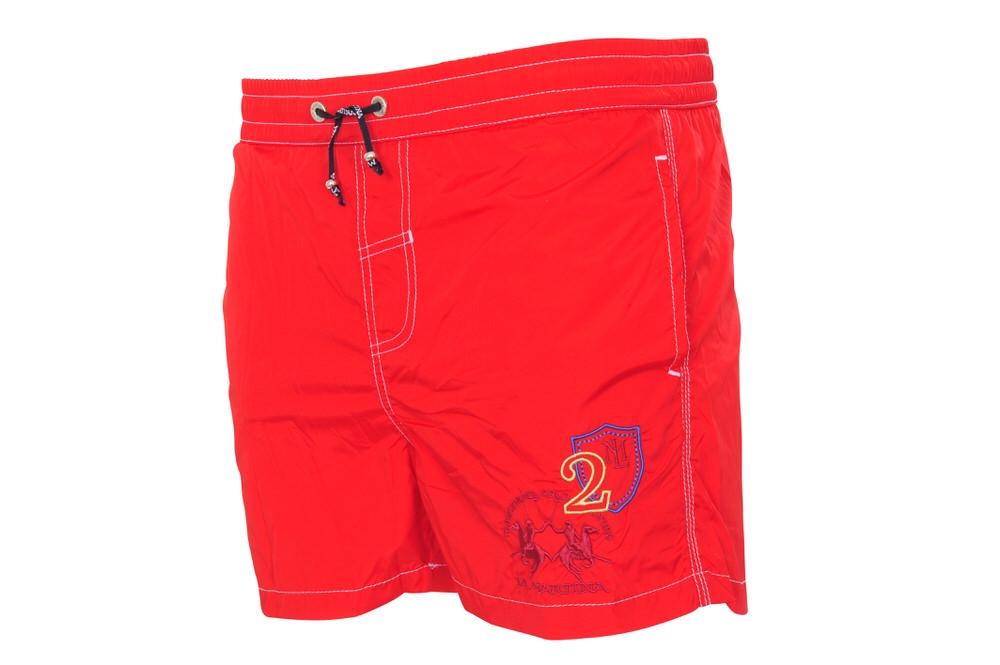 La Martina Badehose Herren XL Slim Fit Rot Polyester Einfarbig  Frühjahr-Somme