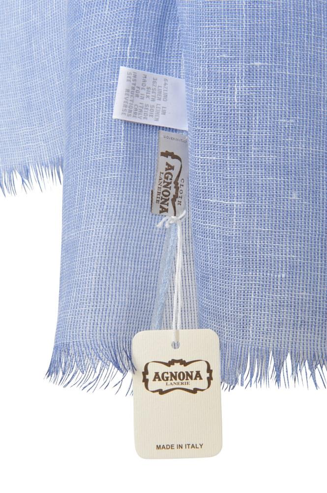 hot sales f1b70 be30e Details about Agnona Scarf Blue Linen Silk 189 x 53