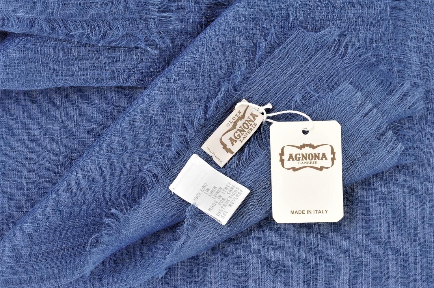 Agnona  Foulard  Blau Leinen   150 cm x 165 cm